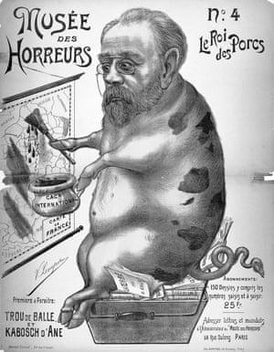 "An antisemitic contemporary cartoon depicting Émile Zola, ""Le Roi des Porcs""."
