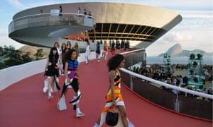 Louis Vuitton models descend the catwalk at the Mac Niterói art gallery in Rio de Janeiro on Saturday.