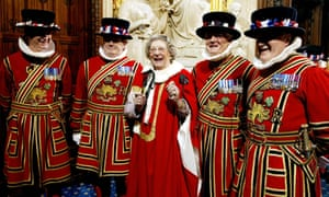Jean Trumpington with the Yeomen of the Guard in the House of Lords. She retired from the house at the age of 95.