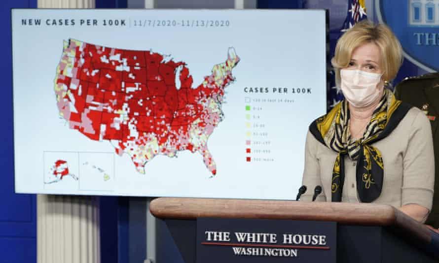 Dr Deborah Birx, the White House's coronavirus response coordinator, speaks during a briefing with the coronavirus taskforce at the White House on November 2020.
