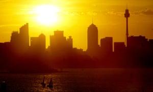 Sun setting on the skyline of Sydney