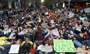 Prostrate protesters in Melbourne