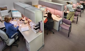Business people in office cubicles, elevated view<br>GettyImages-200421753-001