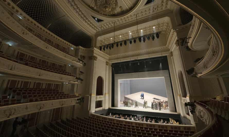 An opera is performed to an empty auditorium in Berlin, where all theatres are closed.