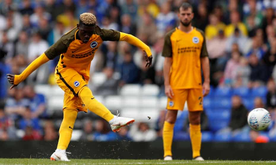 Yves Bissouma, who has arrived from Lille, smashes home a free-kick during the pre-season draw at Birmingham.