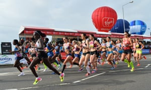 Runners in the elite women's race moments after their start of the 2017 London Marathon