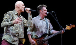 Peter Garrett and Bones Hillman of Midnight Oil perform on stage at the Sound Relief Bushfire Benefit Concert on 14 March 2009 in Melbourne, Australia.
