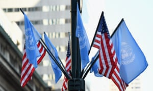 In this file photo taken on September 23, 2019 flags of the United Nations and the United States of America are seen in New York City.