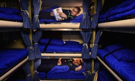 Sailors in their bunks on HMS Vigilant