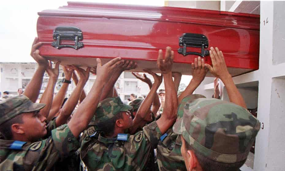This 1999 picture shows the coffin of one of 58 soldiers killed in clashes with the Farc guerrilla in Florencia, 530 kms (330 miles) south of Bogota.