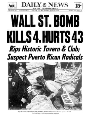 The Daily News front page from 25 January 1975 following the bombing of the Fraunces Tavern.