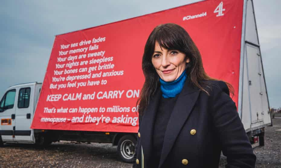 Davina McCall promoting her show Davina McCall: Sex, Myths and the Menopause.