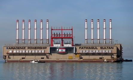 A power ship moored in Lebanon