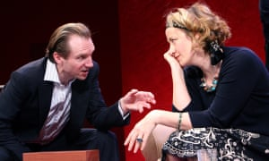 Savage satire … Ralph Fiennes and Janet McTeer in God of Carnage at the Gielgud, London, in 2008.