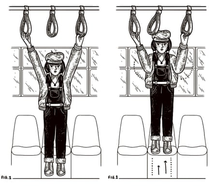 a woman doing pullups with the hand-holds on a train carriage