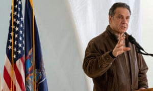 Cuomo speaks to reporters at a Covid-19 pop-up vaccination site in Brooklyn on 23 January 2021. He won praise for his leadership during the coronavirus crisis, which he himself celebrated in a hastily published memoir.