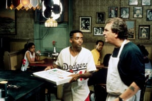 Spike Lee wearing a Dodgers shirt in his film Do The Right Thing, 1989