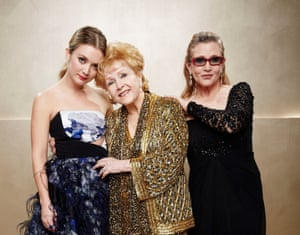 Billie Lourd with her mother Fisher and grandmother Reynolds, at the 21st Annual Screen Actors Guild Awards in Los Angeles in 2015.