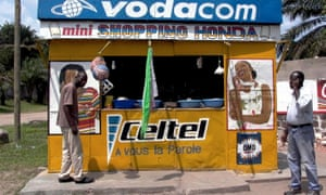 A roadside stall selling pre-paid cellphone cards in Kinshasa, Democratic Republic of Congo.