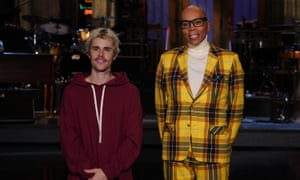 Justin Bieber and host RuPaul in Studio 8H in New York, New York, on 7 February.