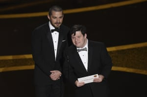 Shia LaBeouf and Zack Gottsagen announce the award for best live action short film.