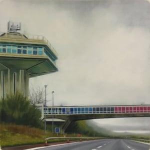 Forton Services motoway bridge painting by artist Jen Orpin.