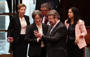 Derryn Hinch and Penny Wong share a joke