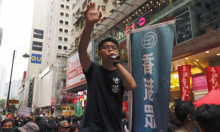 Jushua Wong addressing the crowd in Hong Kong, 1 January 2020