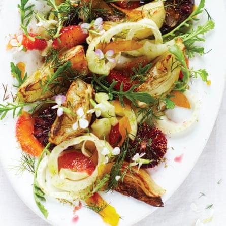 Roasted and raw fennel salad with blood orange and bottarga.