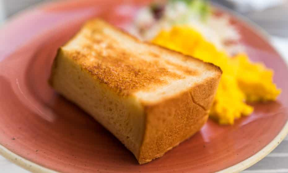 A very thick slice of toasted shokupan – Japanese milk bread.