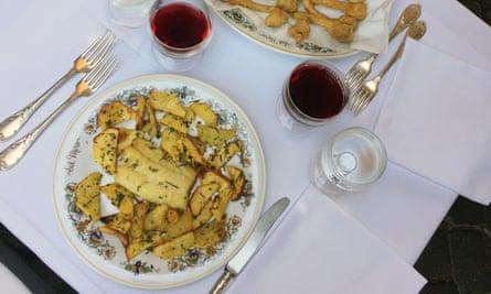 fish lunch at Al Moro, Rome