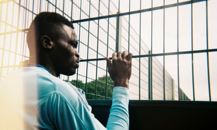 A player at the Justice First Football Tournament in Middlesbrough, England