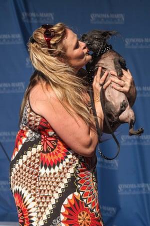 A participant kisses her dog Boolah