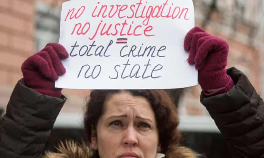 Protesters demand a fair investigation into the death of Iryna Nozdrovska.