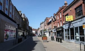 A near empty High Street in Winchester.