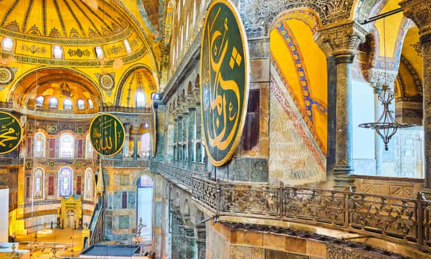 The upper south gallery of the nave of Hagia Sophia mosque, the church built in the 6th century in what is now Istanbul.