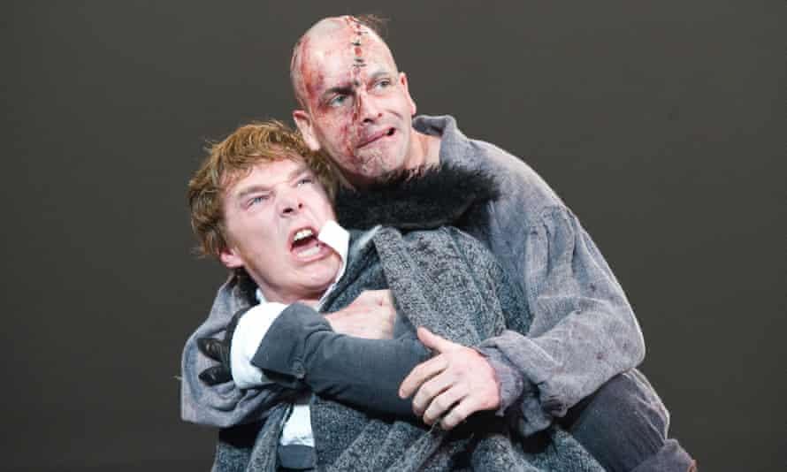 Benedict Cumberbatch (Victor Frankenstein) and Jonny Lee Miller (The Creature) in Frankenstein in 2011.