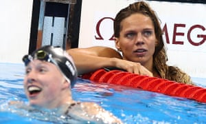 Russia's Yulia Efimova, right, after the women's 100m breaststroke final, with Lilly King, who won.