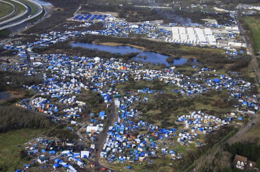 An aerial view of the Calais refugee camp.