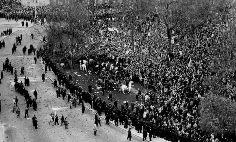 Mounted police clash with anti-Vietnam war demonstrators in Grosvenor Square, London, in March 1968.