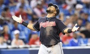 Carlos Santana celebrates his home run in the 19th inning.