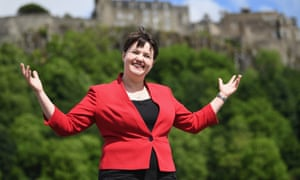 Ruth Davidson, leader of Tories in Scotland, with Stirling Castle in background