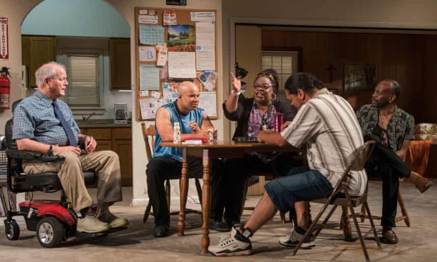 (L to R) Francis Guinan as Fred, Glenn Davis as Gio, Celilia Noble as Ivy, Eddie Torres as Felix and K Todd Freeman as Dee in Downstate.