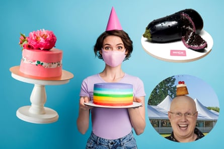 The great baking revival. From left, a fault line wedding cake; a rainbow confection; artist Natalie Sideserf's realistic-looking aubergine cake; and Matt Lucas from the Great British Bake Off.