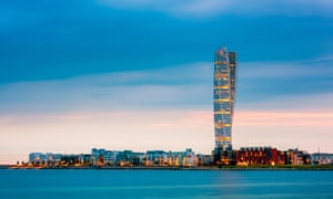 Malmö skyline and the Turning Torso building, Sweden.