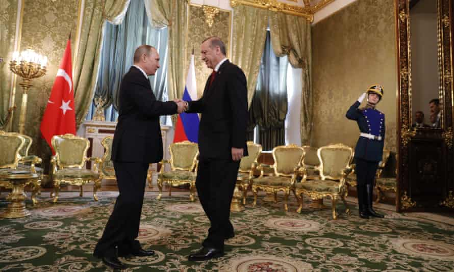 Putin and Erdogan meet for talks at the Kremlin in Moscow.