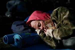 A pilgrim sleeps
