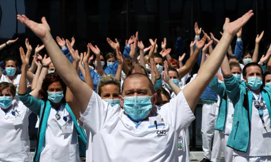 Healthcare workers protest against the handling of the coronavirus crisis in Liège, Belgium, May 2020
