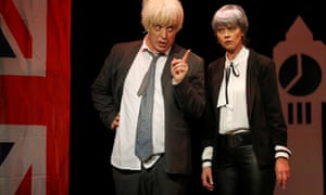 James Witt as Boris Johnson with Virge Gilchrist as Theresa May in Brexit the Musical at the Edinburgh fringe.