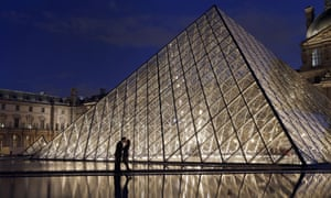 The Pei-designed glass-walled Louvre Pyramid